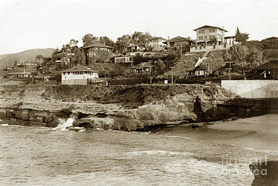 Photograph - The Cove La Jolla, California Circa 1910 by California Views Mr Pat Hathaway Archives