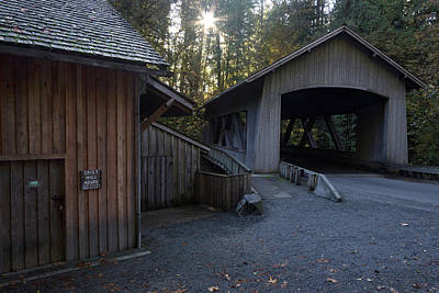 Photograph - The Covered Bridge At Cedar Creeks Grist Mill by Hans Franchesco