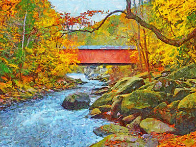 Art Print featuring the digital art The Covered Bridge At Mcconnells Mill State Park by Digital Photographic Arts