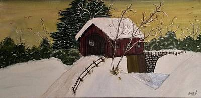 Animals Paintings - The Covered Bridge by Cheryl Wolf