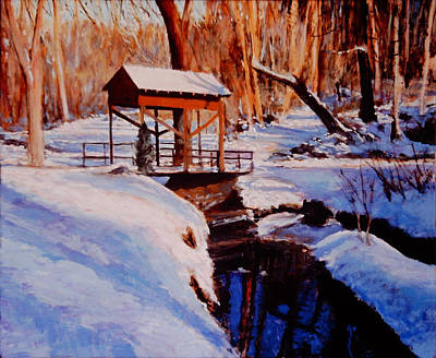 Covered Bridge Painting - The Covered Bridge by David Zimmerman