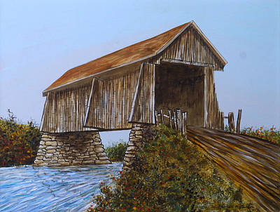 Painting - The Covered Bridge by Norman F Jackson