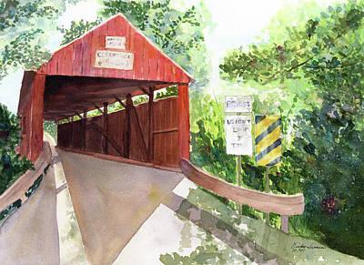 The Covered Bridge Art Print by Vickey Swenson