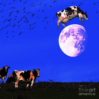 The Cow Jumped Over The Moon . Square Art Print by Wingsdomain Art and Photography
