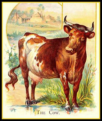Painting - The Cow Victorian Chromolithograph Circa 1875 by Peter Gumaer Ogden Collection