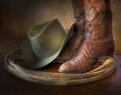 Photograph - The Cowboy Boots, Hat And Lasso by David and Carol Kelly