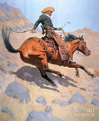 Lassoing Painting - The Cowboy by Frederic Remington