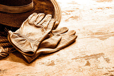 The Cowboy Gloves - Sepia Art Print