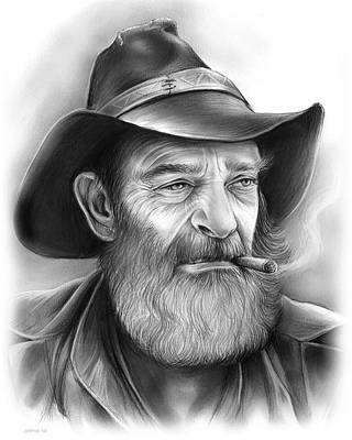 Drawings Rights Managed Images - The Cowboy Royalty-Free Image by Greg Joens