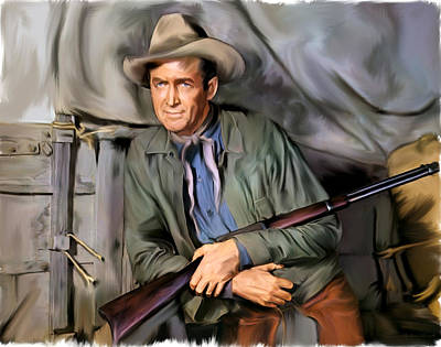 Painting - The Cowboy  James Stewart  by Iconic Images Art Gallery David Pucciarelli