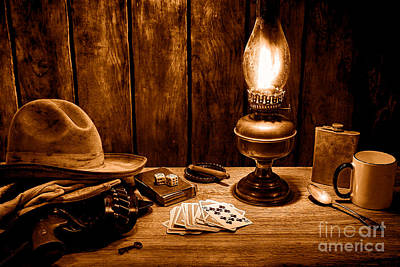 Oil Lamp Photograph - The Cowboy Nightstand - Sepia by Olivier Le Queinec