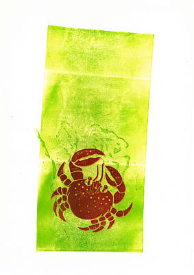 Linoprint Mixed Media - The Crab by Jean Paul Thierevere