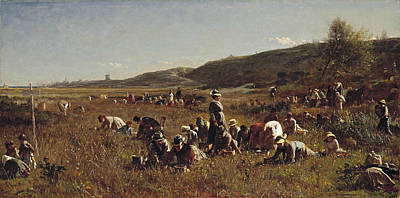 People Painting - The Cranberry Harvest by Eastman Johnson
