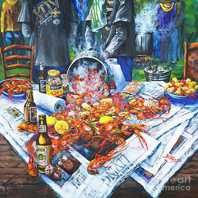 Food And Beverage Wall Art - Painting - The Crawfish Boil by Dianne Parks
