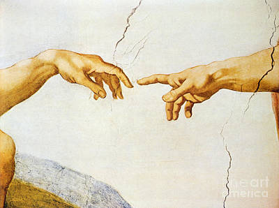 Genesis Painting - The Creation Of Adam by Michelangelo Buonarroti