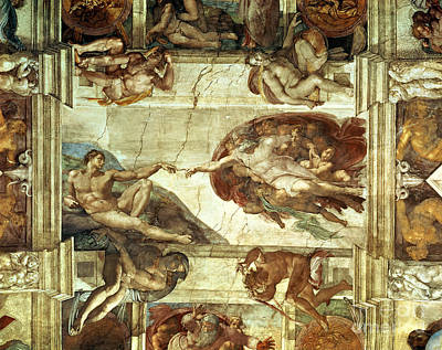 Column Painting - The Creation Of Adam by Michelangelo