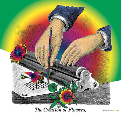Line Engraving Digital Art - The Creation Of Flowers by Eric Edelman