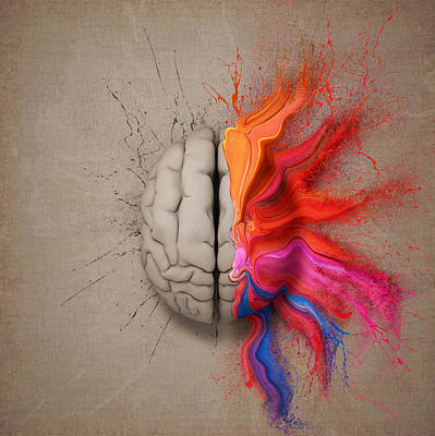 Red Digital Art - The Creative Brain by Johan Swanepoel
