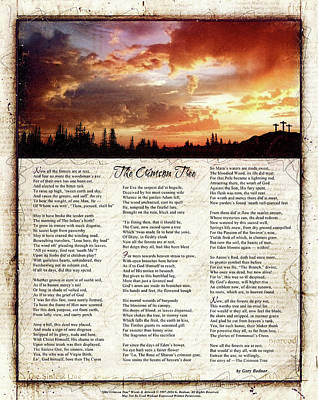 The Crimson Tree Poem Print by Gary Bodnar