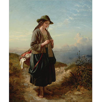Caucasian Painting - The Crofter S Daughter By Edward John Cobbett by Edward John Cobbett