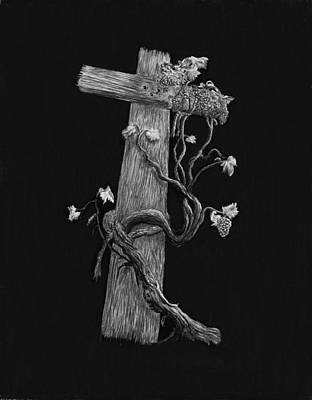 Grape Drawing - The Cross And The Vine by Jyvonne Inman
