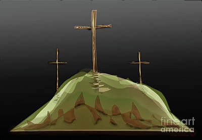 Digital Art - The Crosses Of Calvery by James Fannin