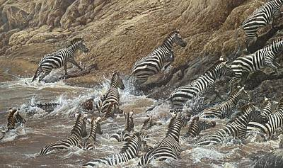 Painting - The Crossing - Zebra Migration by Alan M Hunt