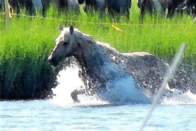 Photograph - The Crossing - Chincoteague Pony Run by Kim Bemis