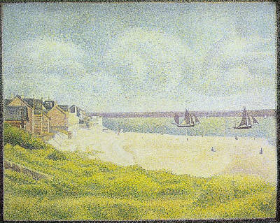 Shore Painting - The Crotoy, Downstream by Georges Seurat