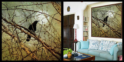 Photograph - The Crow And The Moon Room Sample Mockup by Theresa Tahara