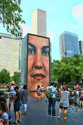 Photograph - The Crown Fountain # 2 - Chicago by Allen Beatty