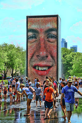 Photograph - The Crown Fountain - Chicago by Allen Beatty