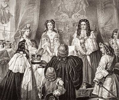 Queen Mary Drawing - The Crown Offered To William And Mary by Vintage Design Pics