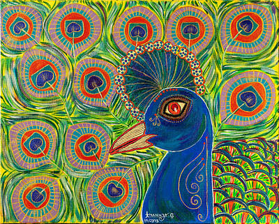 Conservative Painting - The Crowned Peacock by Anannya Chowdhury