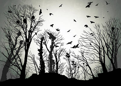 Raven Digital Art - The Crows Roost by Philip Openshaw