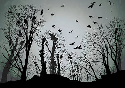 Crow Drawing - The Crows Roost - Twilight Blue by Philip Openshaw