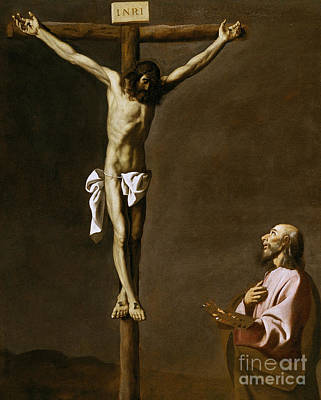 Crucifix Painting - The Crucified Christ With A Painter by Francisco de Zurbaran