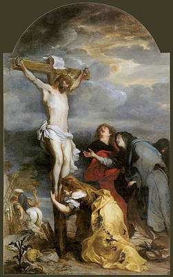 Van Dyke Painting - The Crucifixion By Van Der Weyden by Anthony Van Dyke