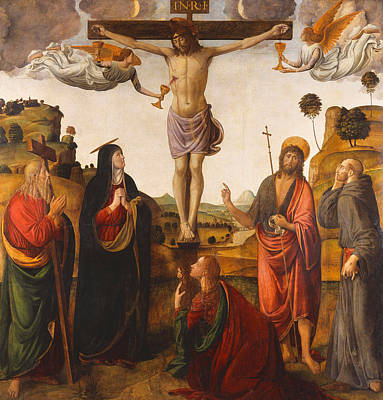 Crucifix Art Painting - The Crucifixion by Cosimo Rosselli