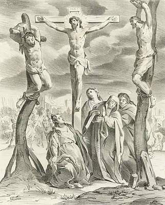 The Wooden Cross Drawing - The Crucifixion by Hendrik van the Elder Balen