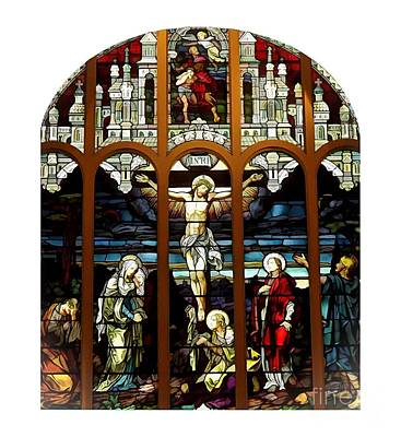 Mary Photograph - The Crucifixion Of Jesus On Good Friday Stained Glass Window by Rose Santuci-Sofranko