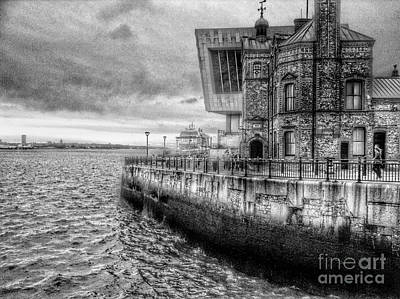 Photograph - The Cruise Ship At Princes Dock In Greyscale 2 by Joan-Violet Stretch