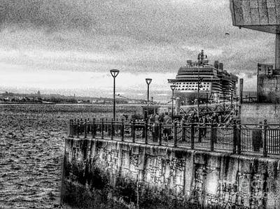 Photograph - The Cruise Ship At Princes Dock In Greyscale  by Joan-Violet Stretch