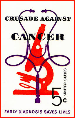The Crusades Painting - The Crusade Against Cancer Stamp by Lanjee Chee