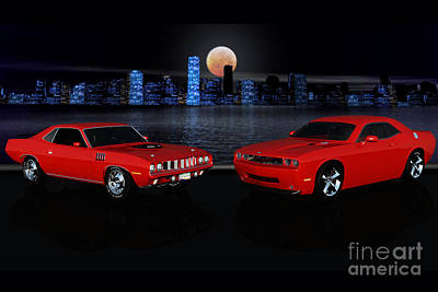 Challenger Digital Art - The Cuda And The Challenger by Dave Young