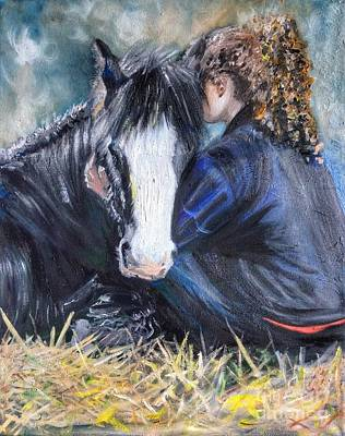 Painting - The Cuddle by Abbie Shores