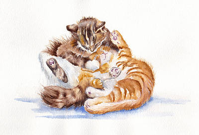 Painting - The Cuddly Kittens by Debra Hall