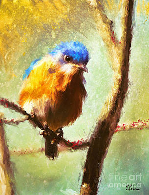 Digital Art - The Curious Bluebird by Tina LeCour