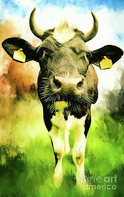 Digital Art - The Curious Cow by Tina LeCour