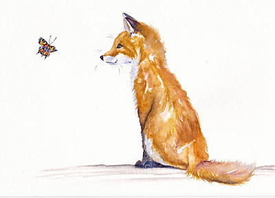 Painting - The Curious Fox Cub by Debra Hall